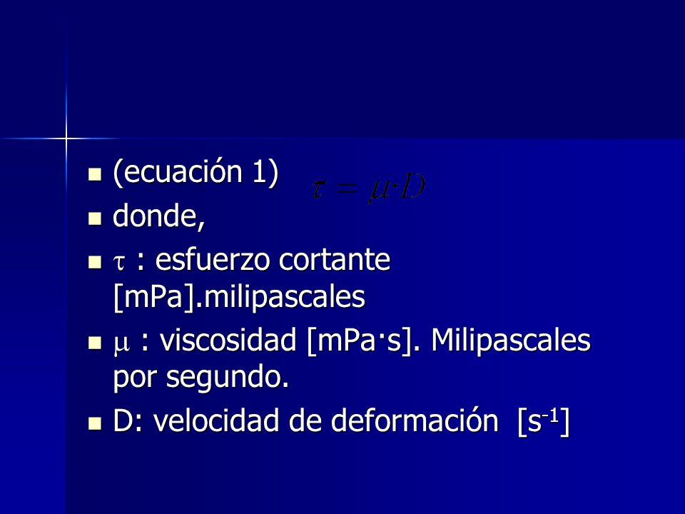 (ecuación 1) donde,  : esfuerzo cortante [mPa].milipascales.  : viscosidad [mPa·s]. Milipascales por segundo.